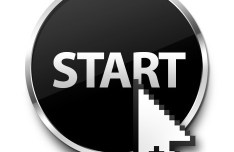 Round Start Button with Metal Border PSD