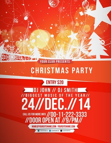 Creative Christmas Party Club Poster Flyer Template Vector 04