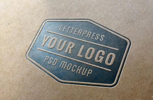 Letterpress Logo Mockup PSD
