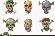 6 Cute Skull Icons Vector