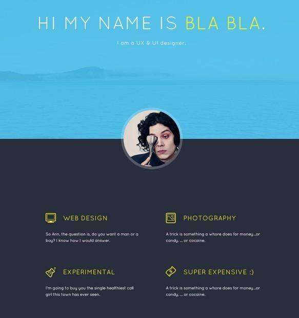 Bla Bla's Portfolio Website Template PSD
