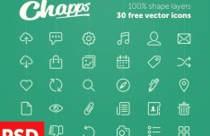 30 Line Icons Vector PSD