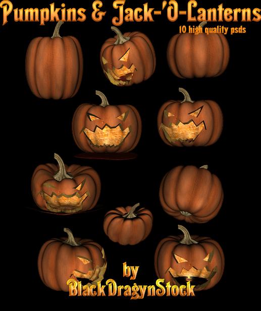 Halloween Pumpkin and Jack-O-Lanterns Design PSD