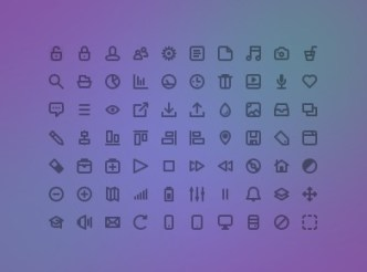 70+ Simple Line Icons PSD