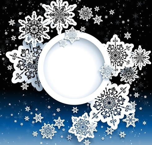 Elegant White Snowflakes Background Vector 04