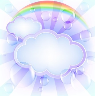 Fresh Clouds and Rainbow Background Vector