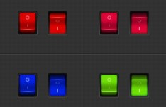 Realistic Multi-color Switch Buttons PSD