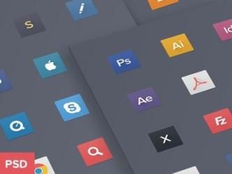 Flat Mac Dock Icons PSD