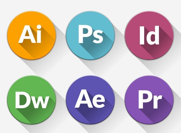 Round Flat Adobe Application Icons with Long Shadows PSD