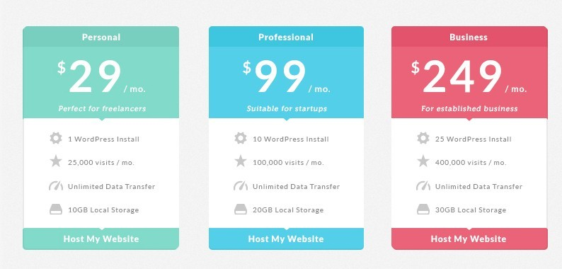 Free colored pricing table flat design psd titanui for Table flat design