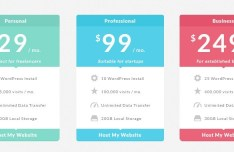 Colored Pricing Table Flat Design PSD