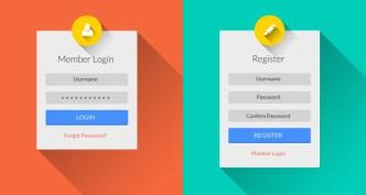 Flat Long Shadow Login & Register Form UI PSD