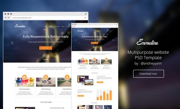 Emmeline Website Template PSD