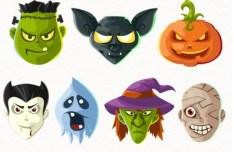 Halloween Head Icons PSD