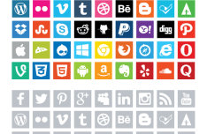 Square Social Medial Flat Icons PSD