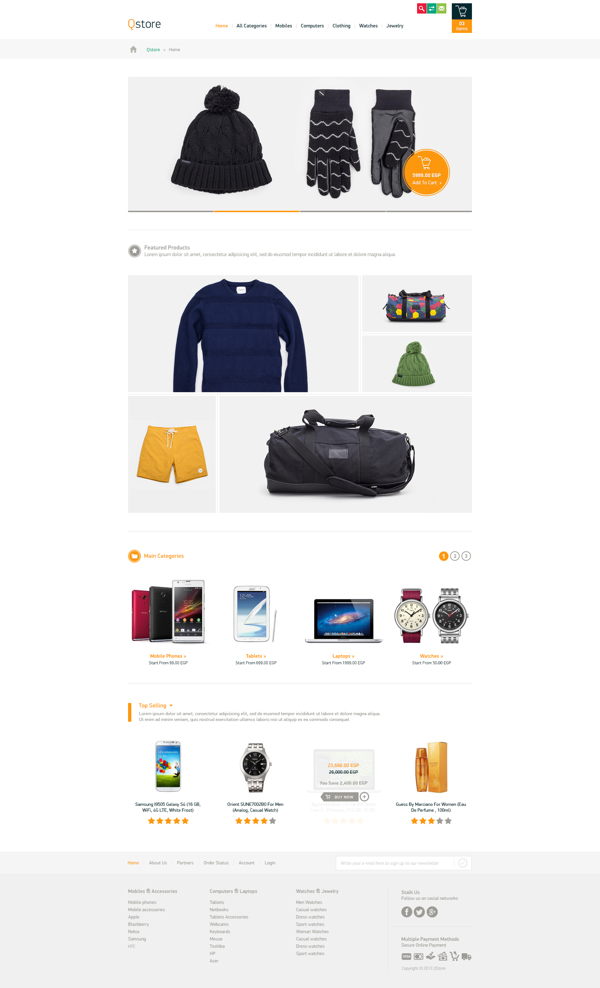 Qstore E-commerce Website PSD Template