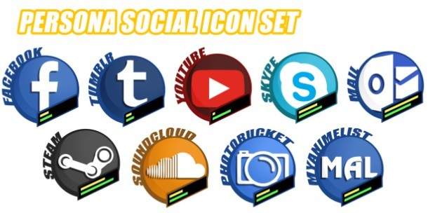 Persona Social Icon Set (5 PSDs Included)