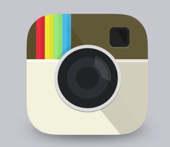 Flat Instagram Icon With Reflection PSD