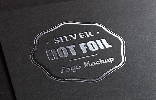 Silver Stamping Logo MockUp PSD