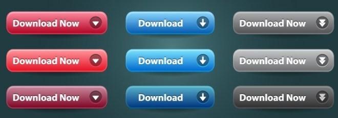 Simple Download Button Set Vector