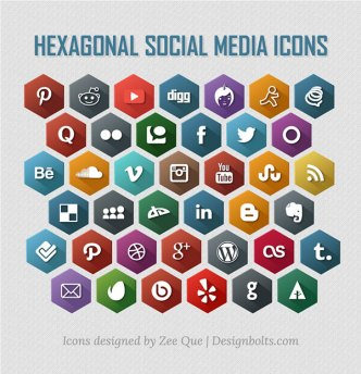 Flat Long Shadow Style Hexagonal Social Media Icons