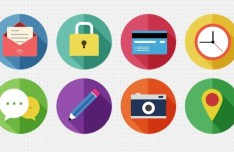 8 Round Flat Icons with Long Shadows PSD