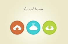 3 Round Cloud Icons PSD