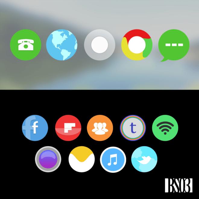 Flat Round Style Random Icons PSD