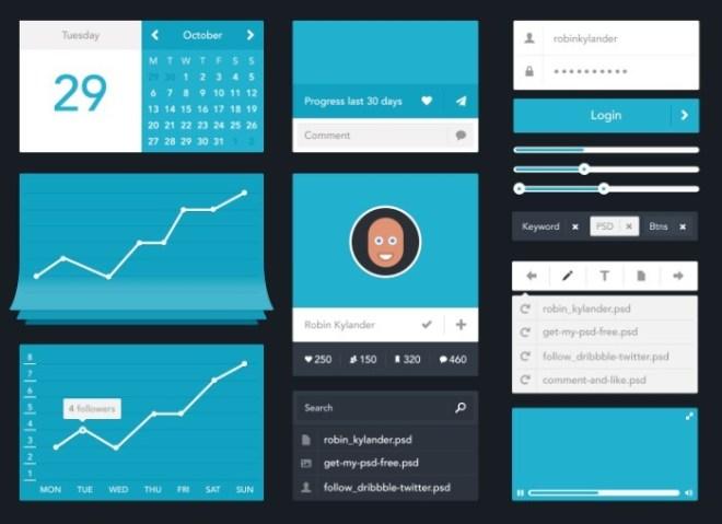 Minimalisti Flat Blue UI Kit PSD