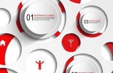 Red And White Number Labels For Infographic Design Vector 01
