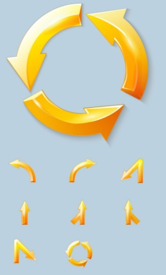Set Of Glossy Yellow Arrows Vector