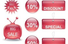 Set Of Red Sale & Discount Labels For Holiday Vector