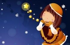 Cartoon Girl In Christmas Eve Vector Illustration