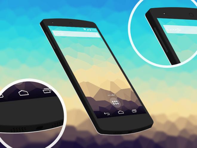 Flat Nexus 5 3D Mockup PSD