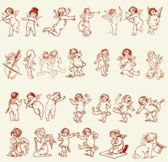 Set Of Hand Drawn Cupids Vector