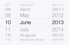 iOS 7 Date Picker UI Vector