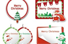 Set of Lovely Merry Christmas Labels Vector 02