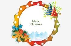 Circular Cartoon Merry Christmas Frame Vector 03