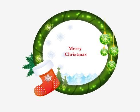 Circular Cartoon Merry Christmas Frame Vector 05