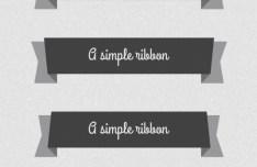 Set Of Dark Flat Ribbon Designs PSD