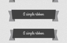 Set Of Dark Flat Ribbon Designs PSD