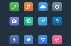 12 Rounded Flat App Icons PSD
