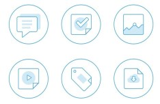 Blue Flat Out Lined Icons PSD