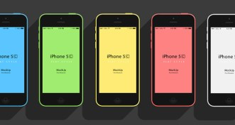 iPhone 5C Flat Design Mockup
