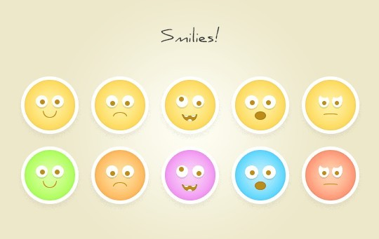 10 Round Flat Emotion Icons PSD