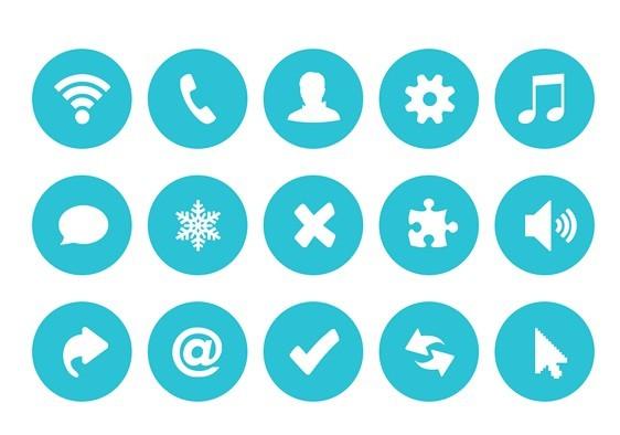 Blue Circle Buttons Flat Design PSD