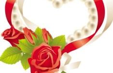 Love Heart Of Flower Ribbons Vector