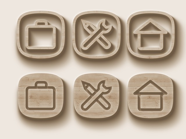 6 Realistic Wood Icons Vector