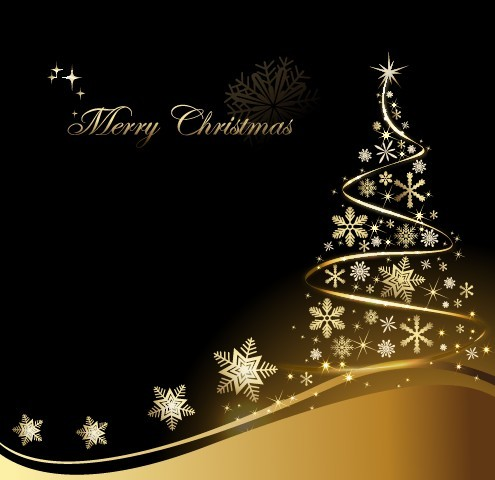 Creative Gold Christmas Tree Design Vector 02