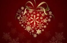 Gold Christmas Love Heart With Ribbons Vector